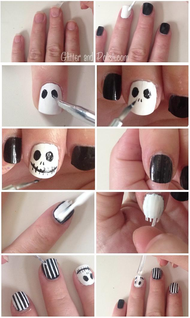 Jack Skellington Nail Tutorial | Glitter & Polish